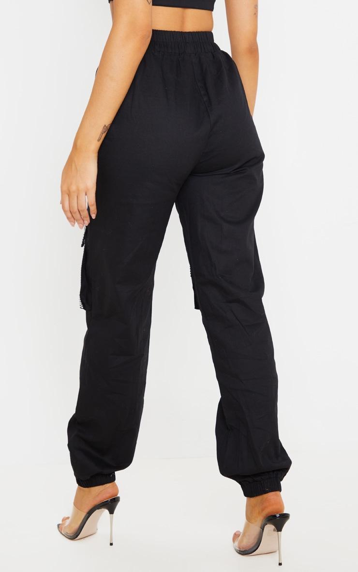 Black Diamante Pocket Detail Cargo Trousers 4