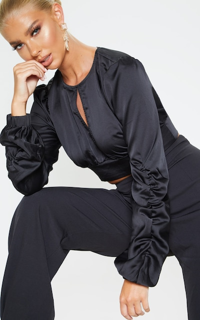 Black Satin Ruched Long Sleeve Spilt Front Crop Blouse