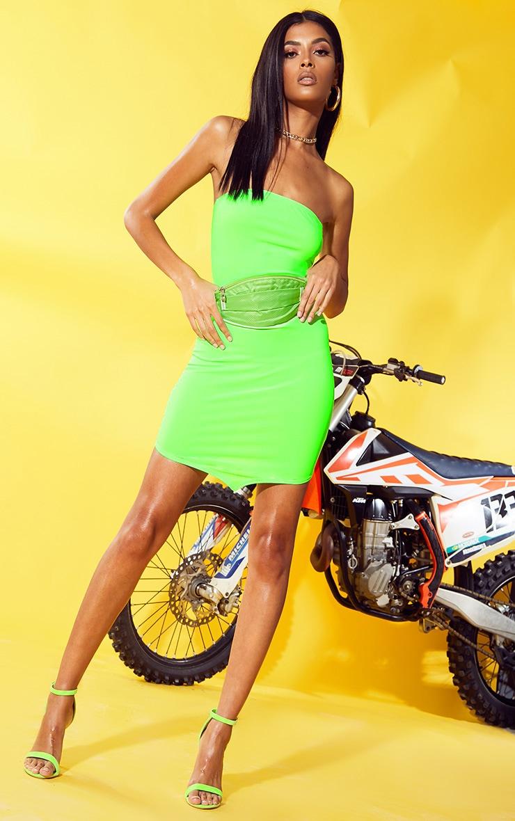 Neon Green Bandeau Pointy Hem Bodycon Dress 4