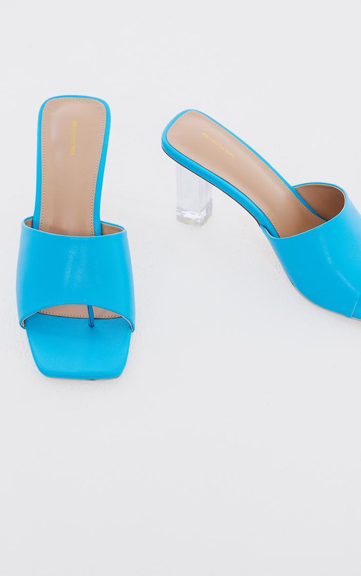 Bright Blue PU Toe Thong Square Toe Clear Heeled Mules 4