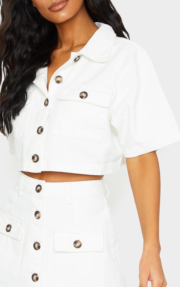 Chemise manches courtes en jean blanc à boutons et détail poches 4