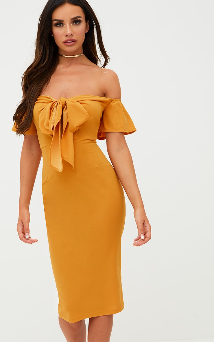 Mustard Bardot Tie Front Midi Dress 1