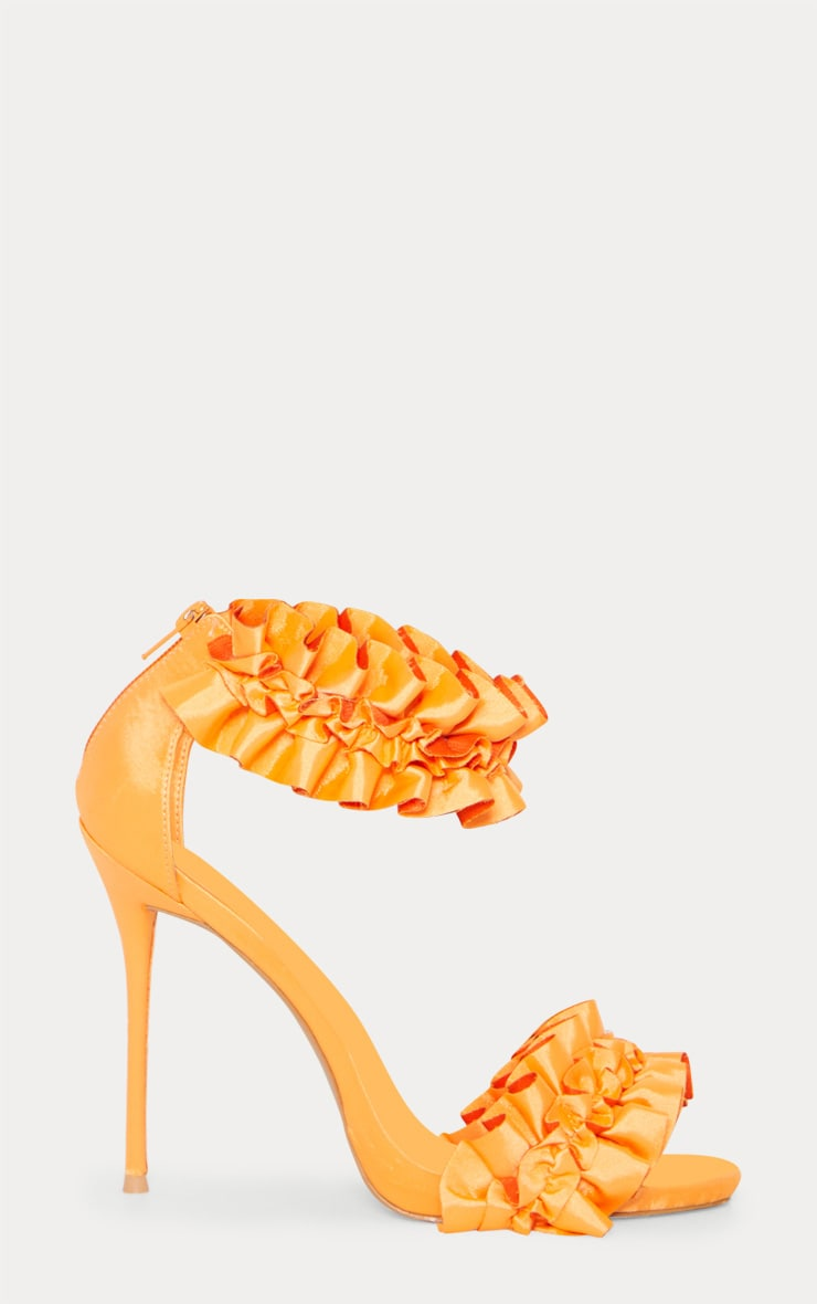 Orange Satin Ruffle Frill Strappy Sandal  3