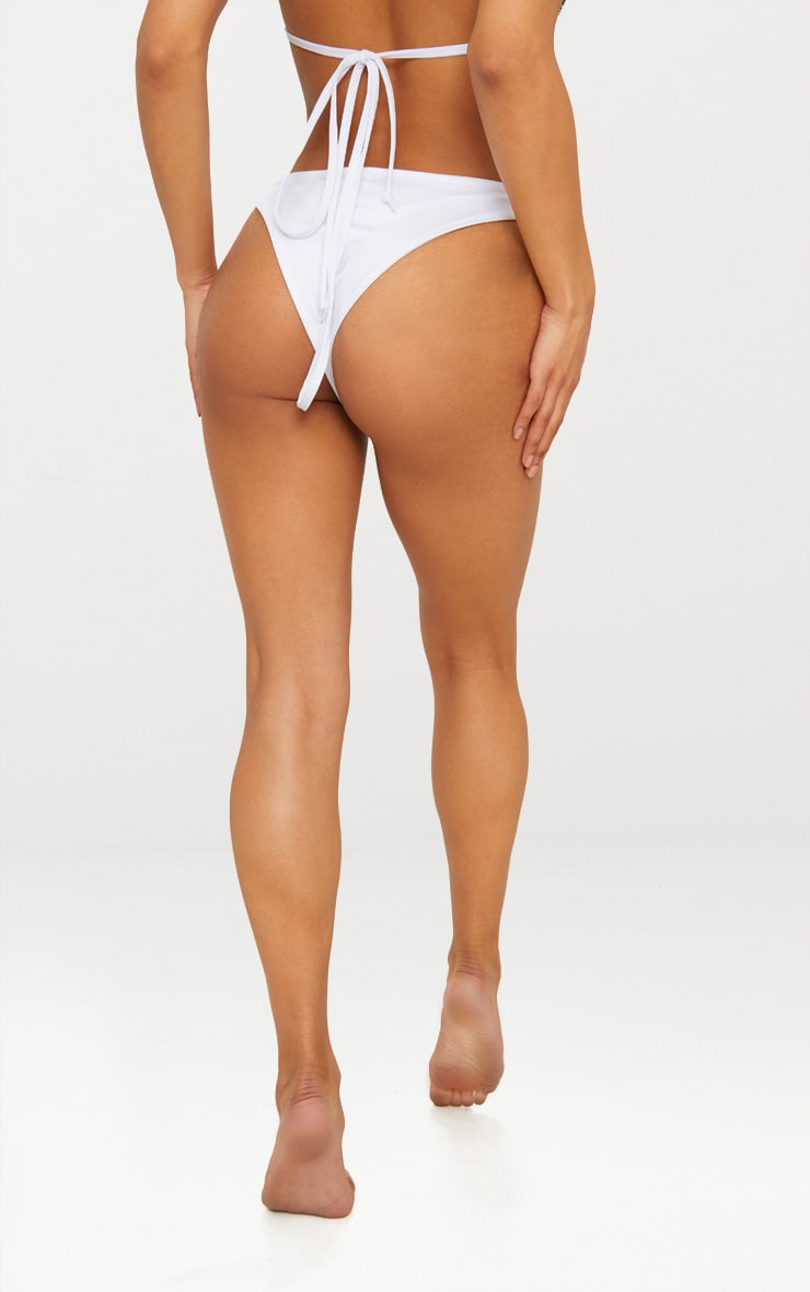 White Mix & Match Brazilian Thong Bikini Bottom 1