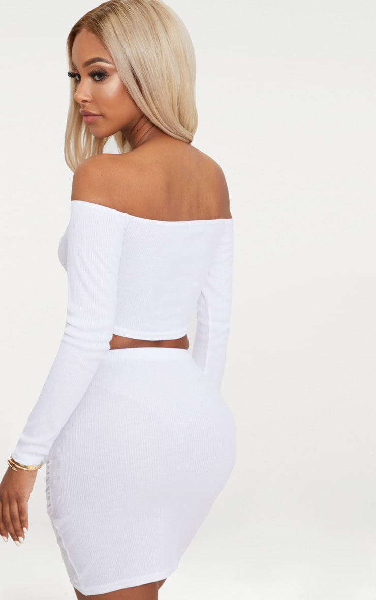 Shape White Wrap Bardot Ribbed Crop Top 2