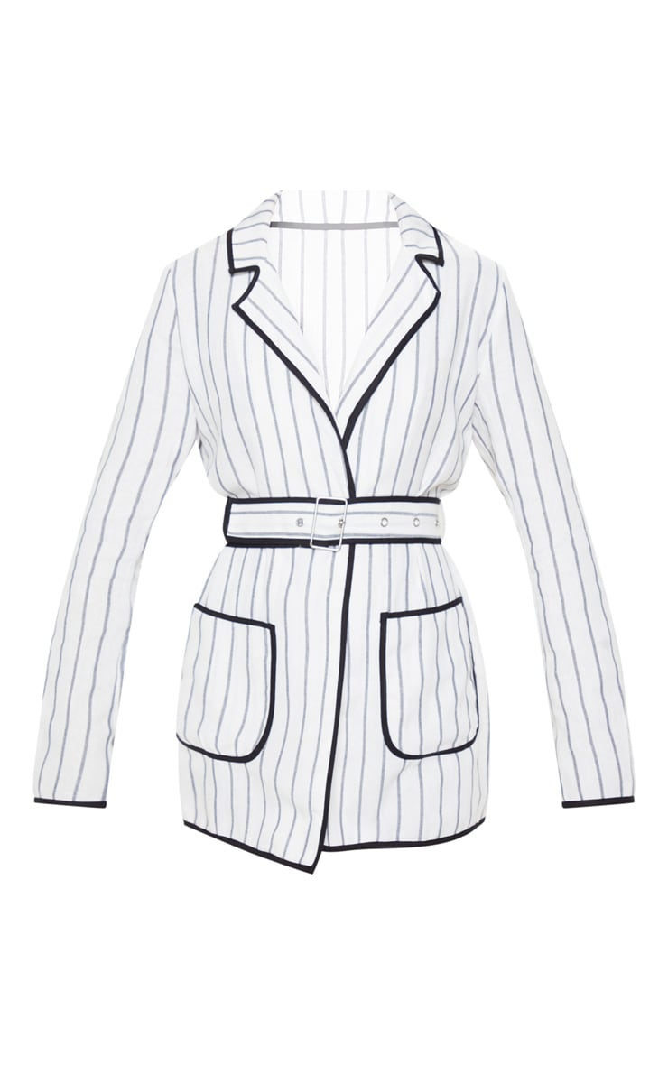 White Striped Linen Woven Blazer 3