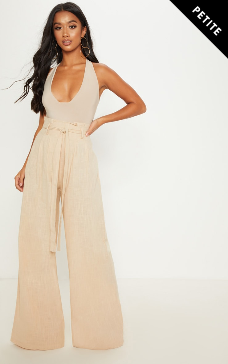 Petite Stone High Waisted Paper Bag Wide Leg Trouser
