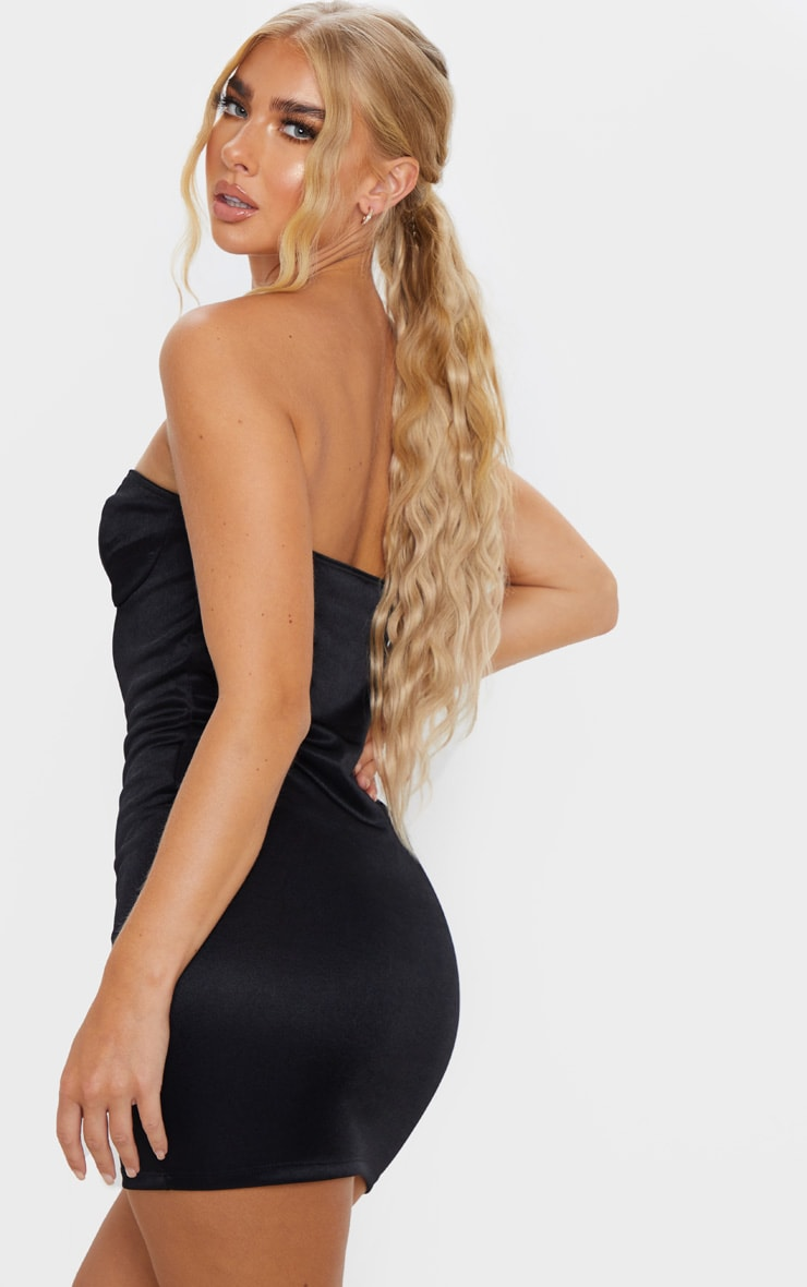 Black Shimmer Slinky Bandeau Bodycon Dress 2