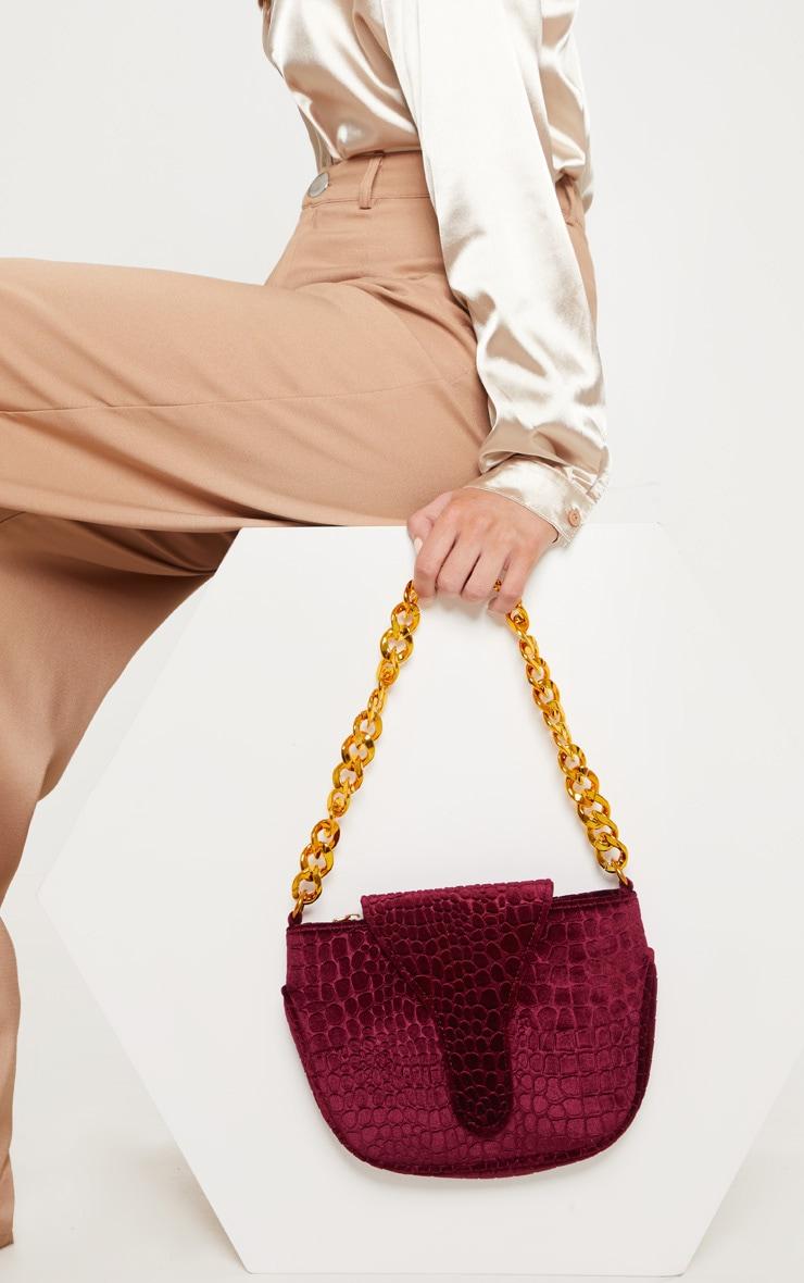 Burgundy Velvet Croc Gold Chain Handbag 1