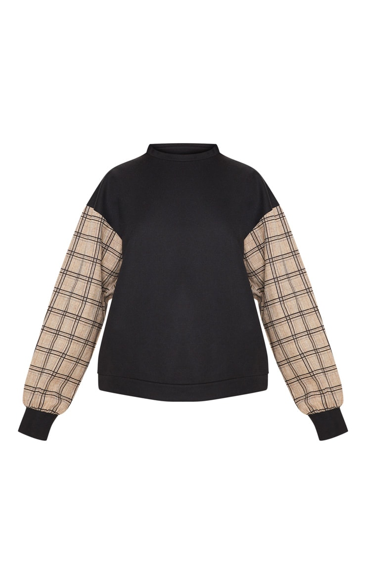 Black Contrast Check Sleeve Sweater 2