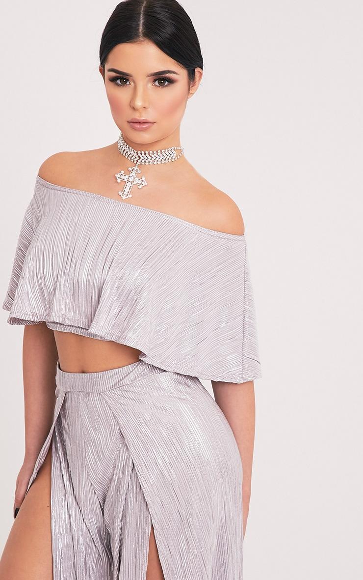 Shape Madaline Silver Metallic Bandeau Crop Top  4