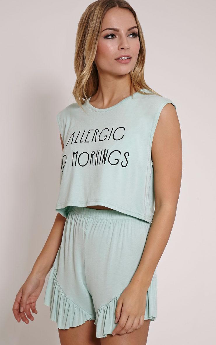 Allergic To Mornings Mint Frill Short Pyjama Set 5
