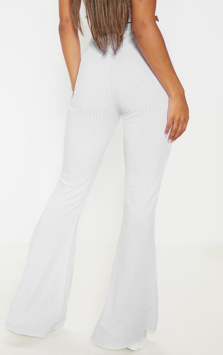 White Rib Lace Up Detail High Waisted Flare Leg Pants 4