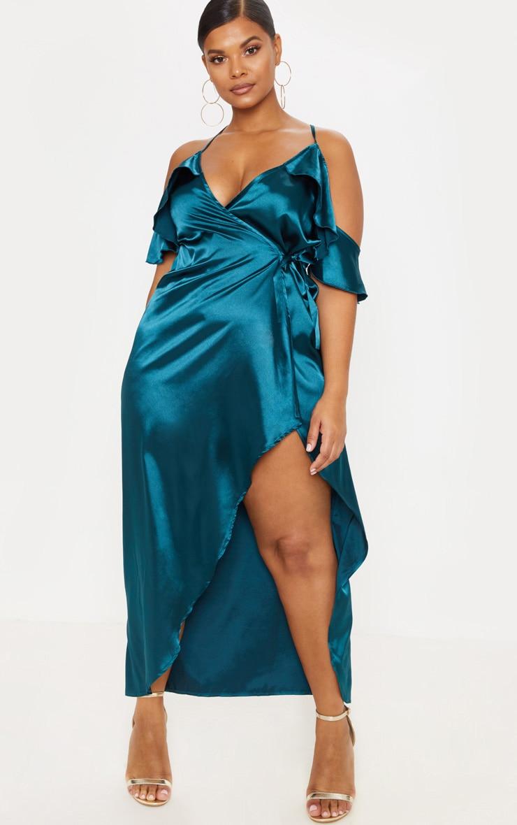Plus Teal Satin Frill Detail Wrap Maxi Dress 1