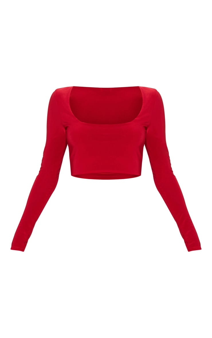 Red Second Skin Square Neck Long Sleeve Crop Top  3