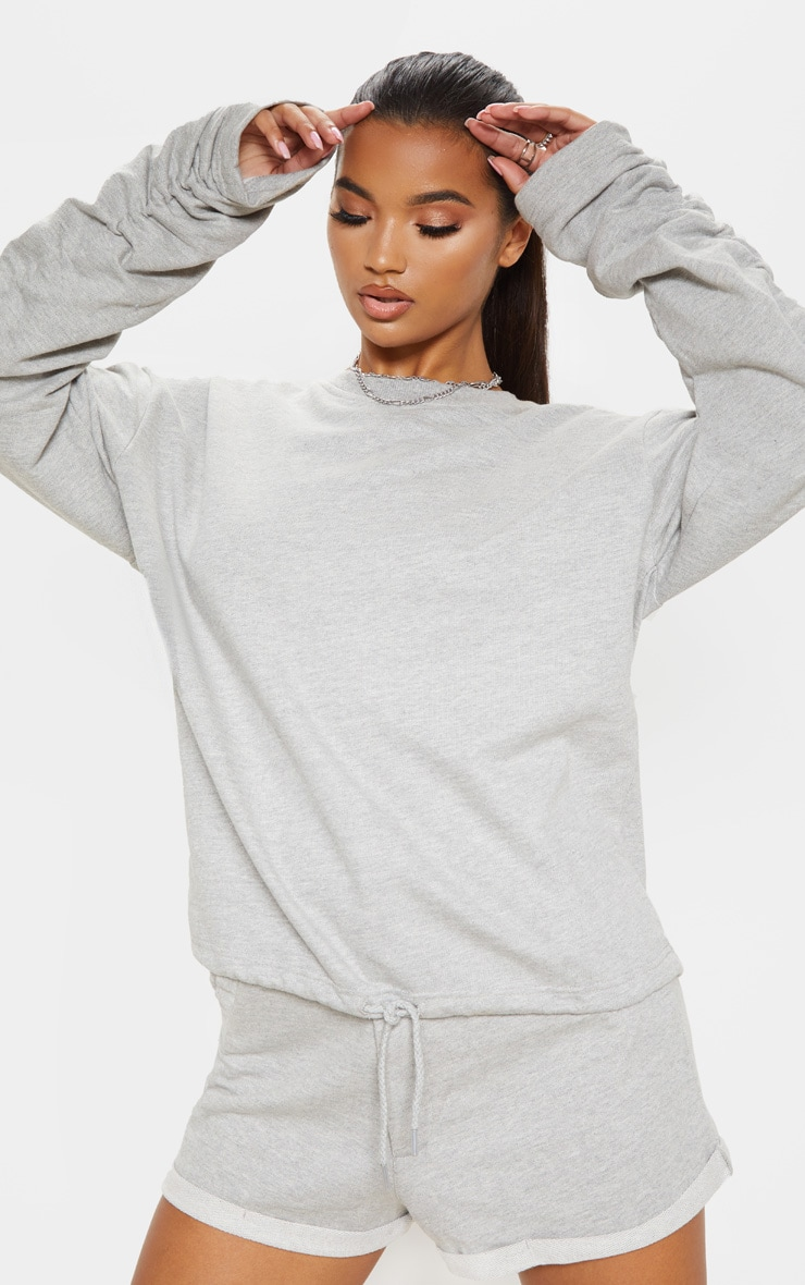 Grey Ruched Sleeve Oversized Sweater 1