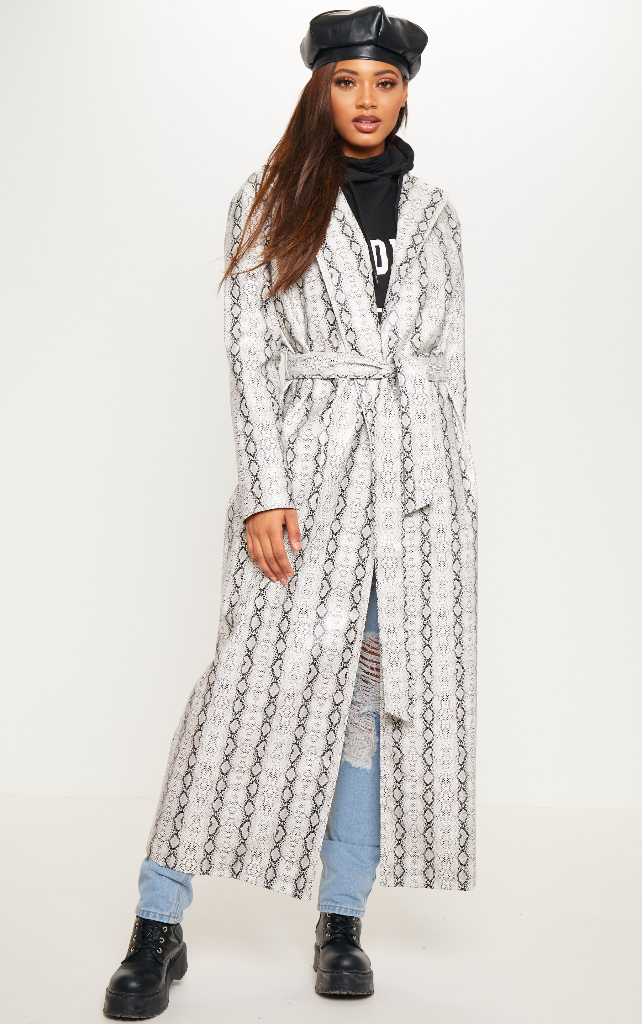 Tall Grey PU Snake Print Belted Trench Coat 1
