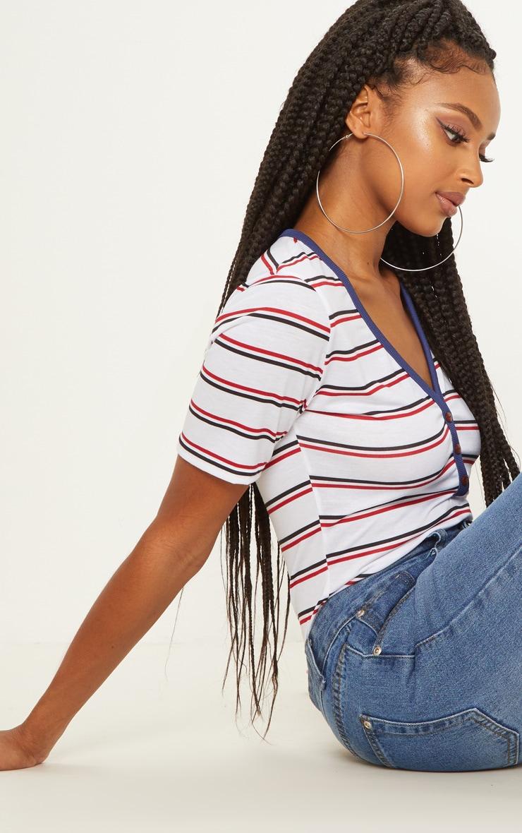 White Button Down Stripe T Shirt 5