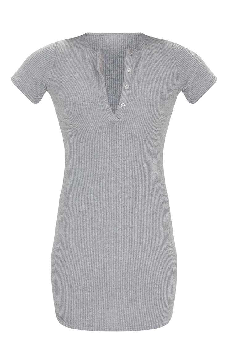 Grey Marl Brushed Rib Short Sleeve Button Front Bodycon Dress 5