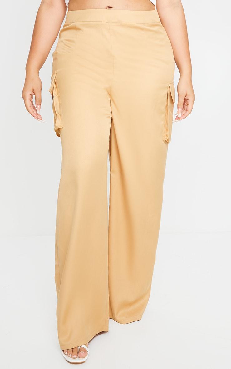 Plus Camel Woven Wide Leg Pocket Detail Pants 2