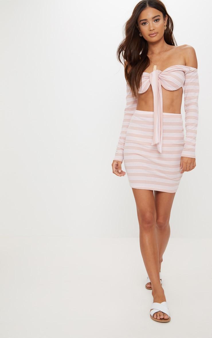 Pale Pink Ribbed Stripe Mini Skirt 5