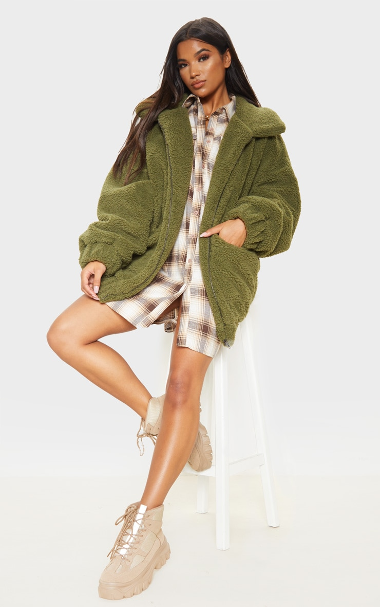 Khaki Oversized Borg Pocket Front Coat 4