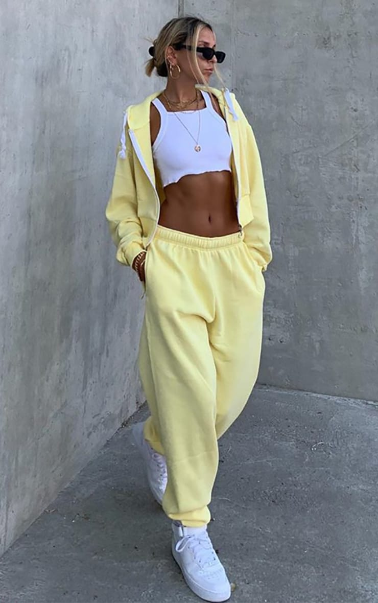 Yellow Thick Zip Up Drawstring Cropped Hoodie 1
