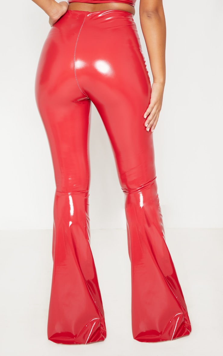 red vinyl high waisted flare leg pants