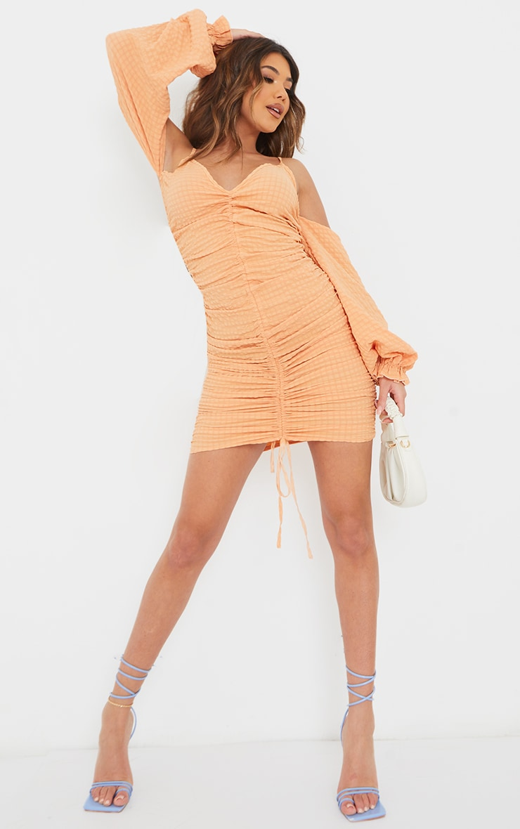 Tangerine Textured Cold Shoulder Ruched Bodycon Dress 3