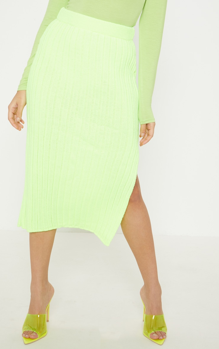Petite Knitted Neon Lime Ribbed Midi Skirt 4