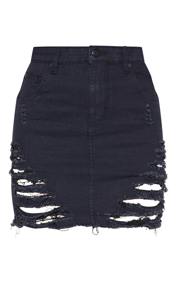 Black Super Shred Denim Mini Skirt 3