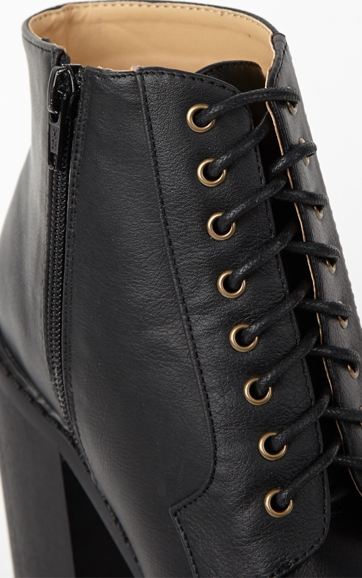 Wesley Black Chunky Lace Up Boots 4