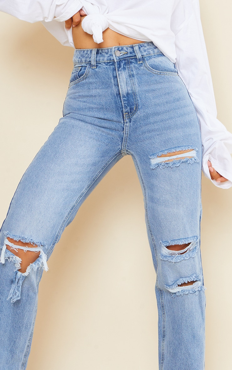 PRETTYLITTLETHING Light Blue Wash Ripped Long Leg Straight Jeans 4