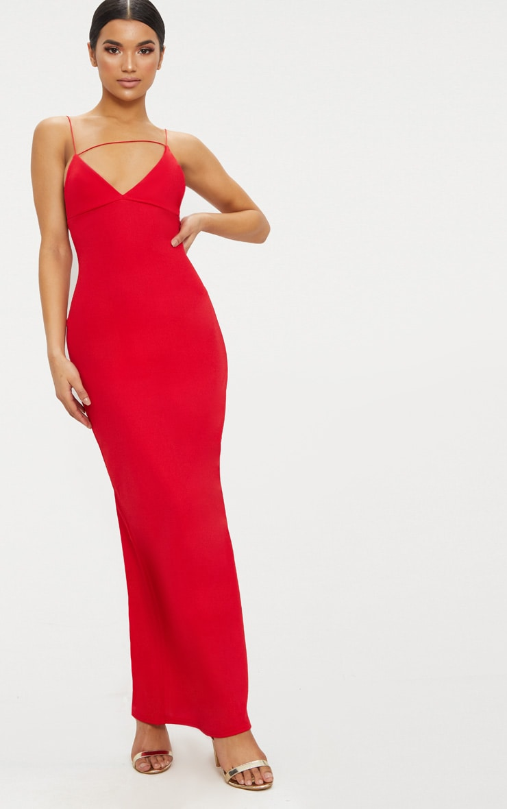 Red Strappy Detail Plunge Maxi Dress 1