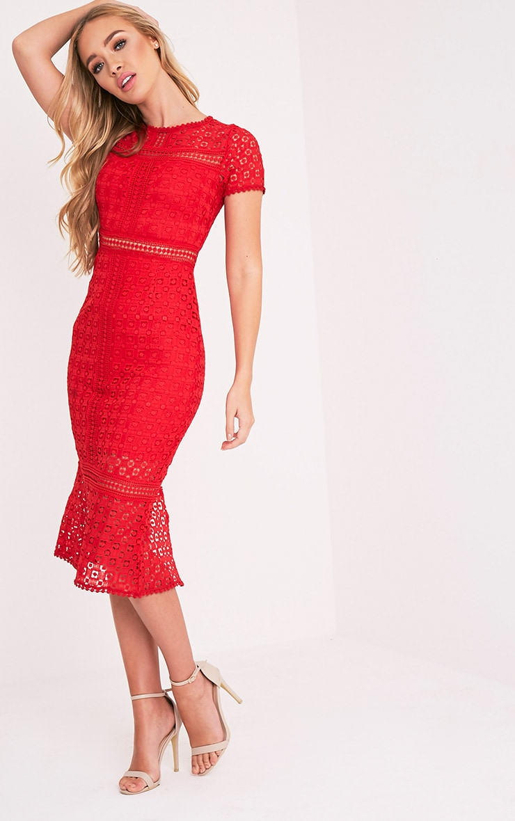Midira Red Crochet Lace Midi Dress 5