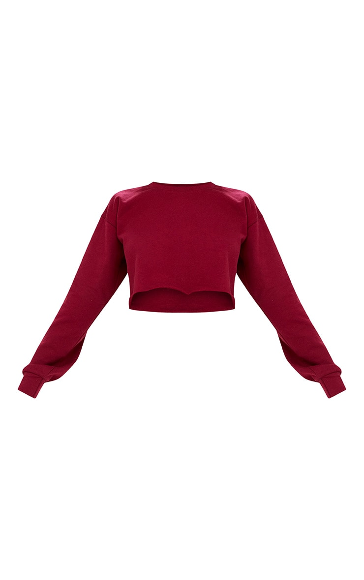 Maroon Cut Off Crop Longsleeve Sweater 3