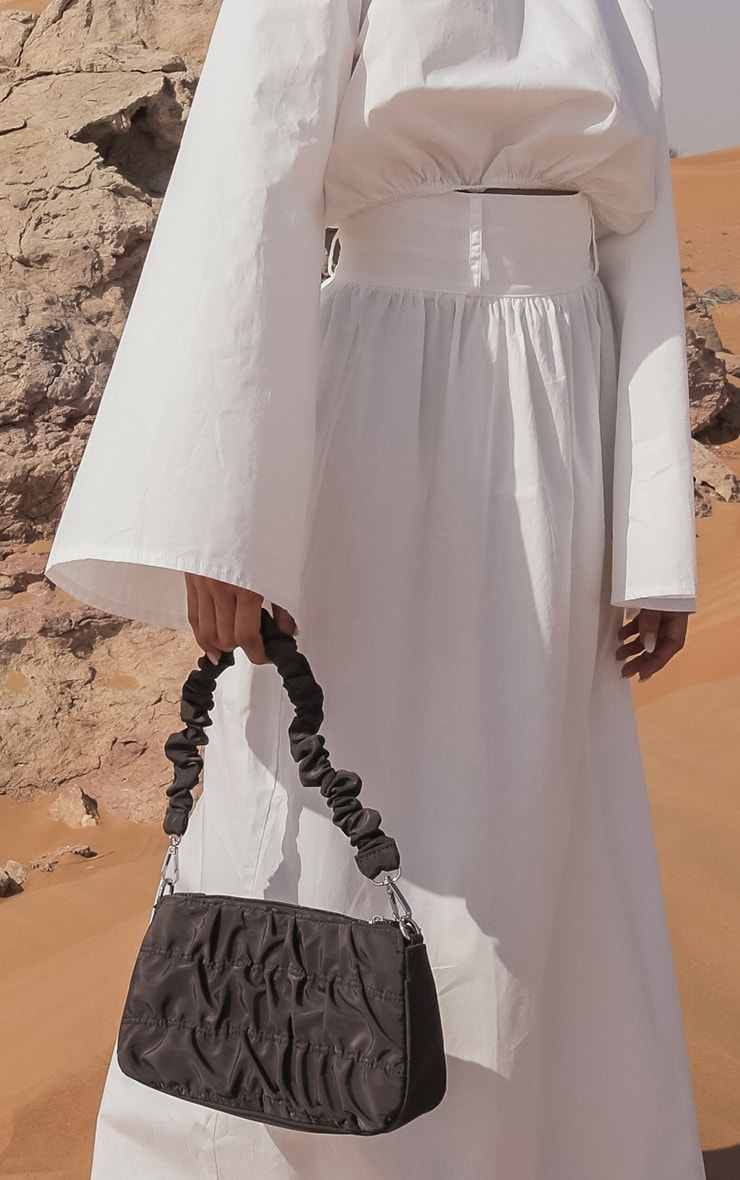 White Woven High Waist Detail Maxi Skirt 3