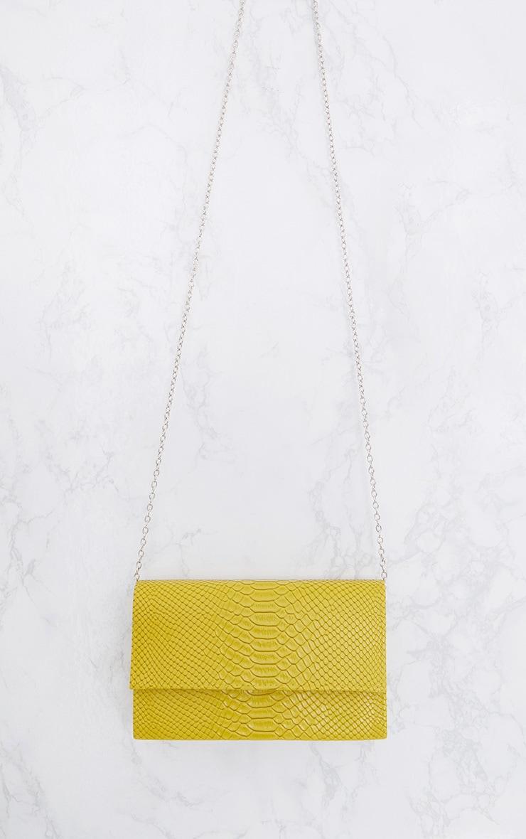 Lime Croc Chain Strap Bag 5