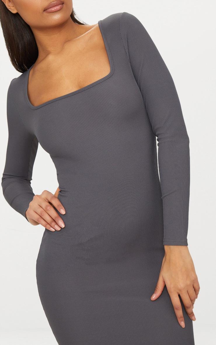 Charcoal Grey Ribbed Long Sleeve Midaxi Dress 5