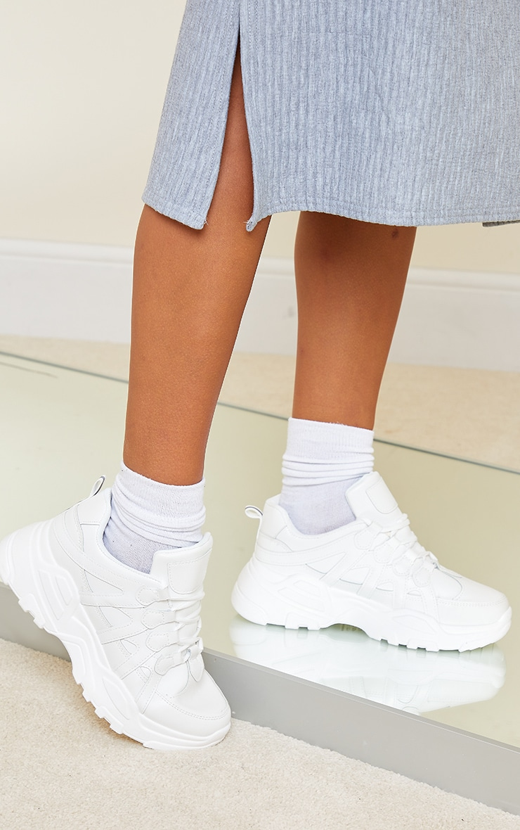 White Chunky Panel Detail Sole PU Trainers 2