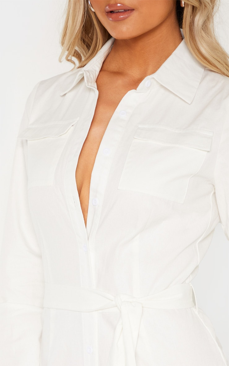 Tall White Square Pocket Long Sleeve Utility Jumpsuit 5