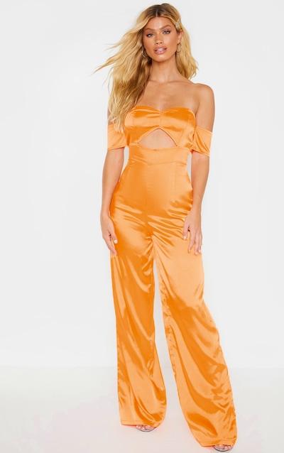 ece7f2e6b2 Tangerine Satin Bardot Cut Out Detail Jumpsuit