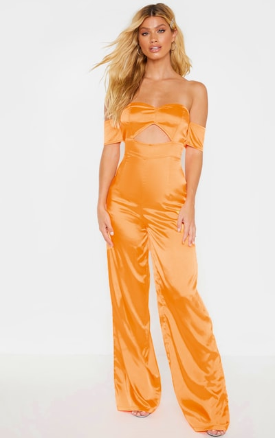 Tangerine Satin Bardot Cut Out Detail Jumpsuit