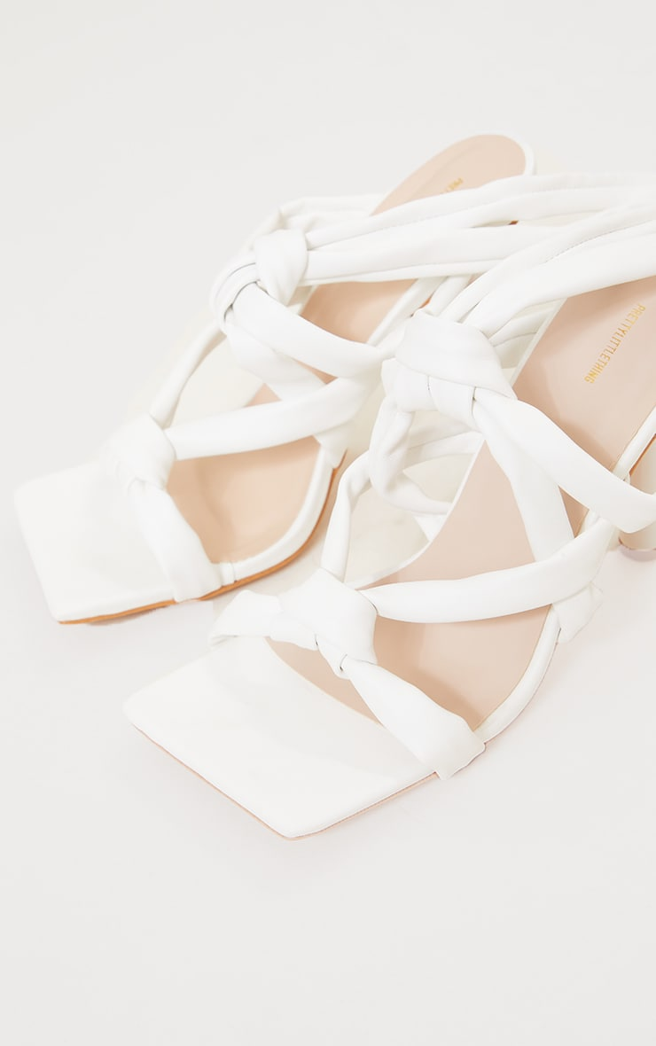 White PU Quilted Knot Detail Lace Up Circle Heeled Sandals 3