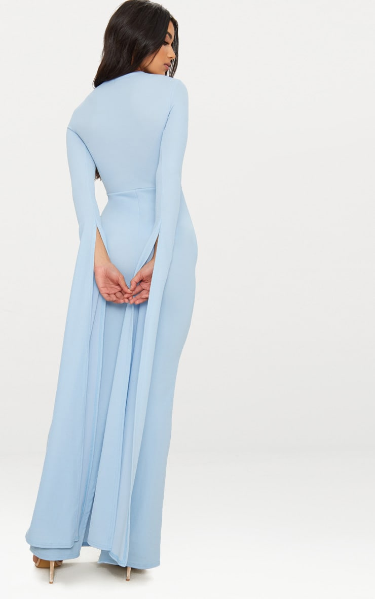 Dusty Blue Cut Out Detail Drape Sleeve Maxi Dress 2