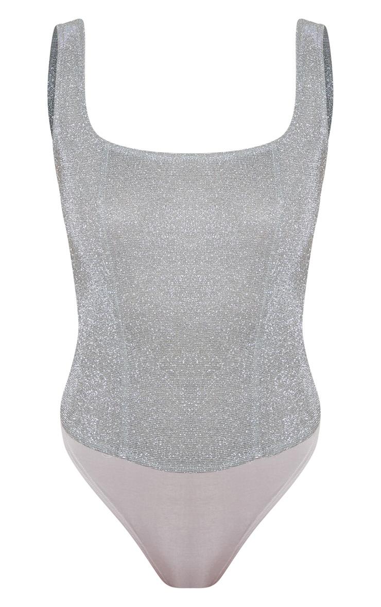 Silver Glitter Panelled Bodysuit 3