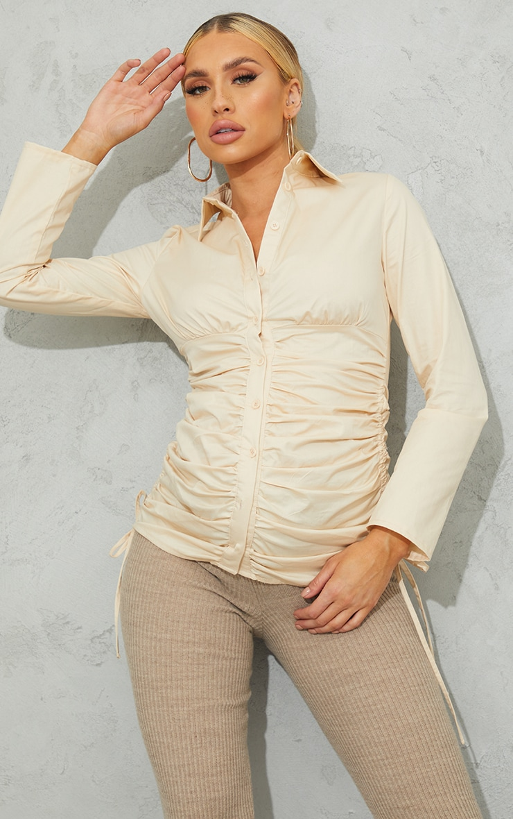 Maternity Stone Ruched Side Detail Shirt 1