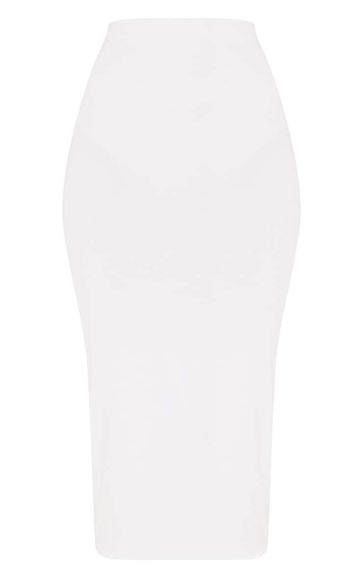 Steffany Cream Slinky Long Line Midi Skirt 3