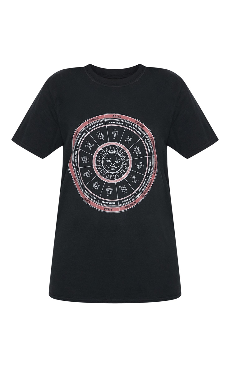 Black Horoscope Printed T shirt 3