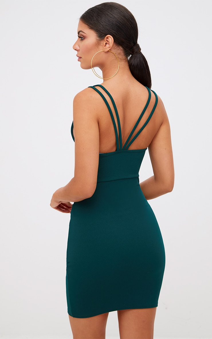 Emerald Green Double Strap Wrap Skirt Bodycon Dress 2